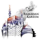 Saluti di Ramadan Kareem Generous Ramadan per il festival religioso Eid di Islam con la costruzione a mano libera di La Mecca di  royalty illustrazione gratis