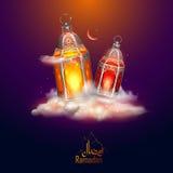 Saluti di Ramadan Kareem Generous Ramadan per il festival religioso Eid di Islam con la lampada illuminata illustrazione di stock