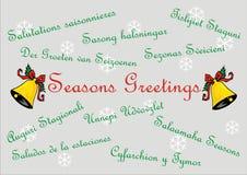 Saluti di stagioni - carta dell'insegna - multi lingue Immagini Stock