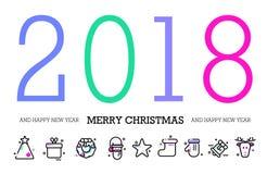 Saluti di stagioni Nuovo anno felice 2018 Progettazione variopinta e contemporanea di astrazione illustrazione di stock