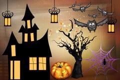 Saluti felici di Halloween dalle zucche illustrazione vettoriale