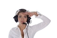 Saluting air traffic controller Stock Photography