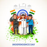 Saluting army officers for Indian Independence Day. Royalty Free Stock Images