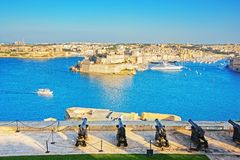 Saluting Battery at Grand Harbor in Valletta in Malta Stock Image