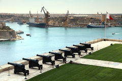Saluting Battery, Grand harbour, Malta Stock Photo
