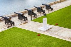 The Saluting Battery. Of La Valletta and Fort St. Angelo of La Vittoriosa in Malta Stock Image