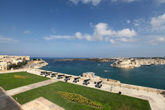 The Saluting Battery, Upper Barracca, Malta. The saluting battery below Barracca Gardens and overlooking Grand Harbour, Malta Stock Photo