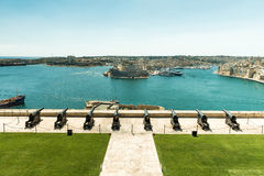 Saluting battery in Valletta bay. Malta Royalty Free Stock Images