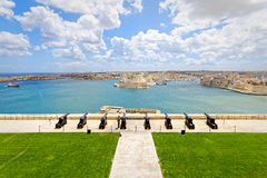 Saluting battery in Valletta bay in Malta.  Stock Images