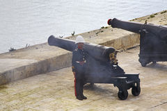 Saluting battery in Valletta. Malta Royalty Free Stock Images