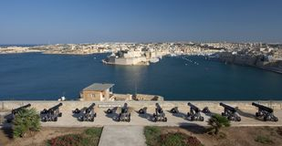 Saluting Battery, Valletta, Malta. The saluting battery in Valletta, Malta Stock Image