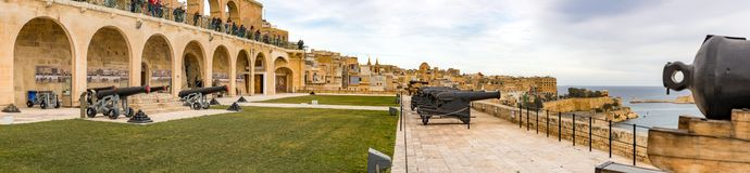 Saluting Battery in Valletta. Saluting Battery, Upper Barracca Gardens in Valletta city, Malta Stock Photo