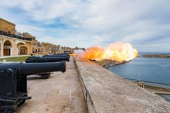 Saluting Battery in Valletta. Saluting Battery, Upper Barracca Gardens in Valletta city, Malta Stock Photography