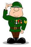 A saluting cartoon soldier. In army uniform with medals Royalty Free Stock Photos