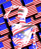 Saluting The Flag. Android figure saluting the stars and Stripes Royalty Free Stock Images