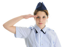 Saluting Jr. ROTC Teen Girl Stock Images