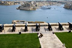 Saluting Lascaris Battery in Valletta, capital of Malta Royalty Free Stock Images
