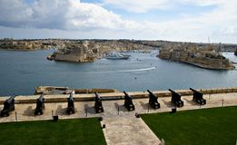 Saluting Lascaris Battery in Valletta, capital of Malta Stock Photography