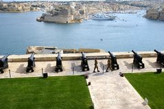 Saluting Lascaris Battery in Valletta, capital of Malta Stock Photos