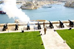 Saluting Lascaris Battery in Valletta, capital of Malta Royalty Free Stock Image