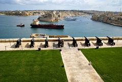 Saluting Lascaris Battery in Valletta, capital of Malta Stock Images