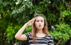 Saluting sign Royalty Free Stock Photography
