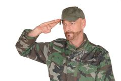 Saluting soldier Royalty Free Stock Photo