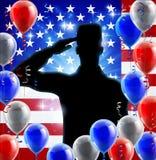Saluting Soldier American Flag Balloon Design. Saluting soldier with an American flag red, white and blue balloon background design graphic vector illustration