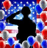 Saluting Soldier American Flag Balloon Graphic. Saluting soldier with an American flag red, white and blue balloon background graphic design Royalty Free Stock Image