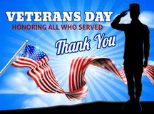 American Flag Veterans Day Soldier Saluting. Saluting soldier with a American flag Veterans Day Honoring All who Served, Thank You background design graphic vector illustration