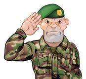 Saluting Soldier Cartoon. A tough looking saluting soldier cartoon character wearing a green beret Stock Image