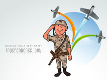 Saluting soldier for Indian Independence Day. Stock Image