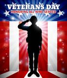 Saluting Soldier Veterans Day American Flag. Saluting soldier with a patriotic Veterans Day American flag red, white and blue background vector illustration