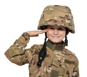 Saluting soldier. Young boy Royalty Free Stock Photography