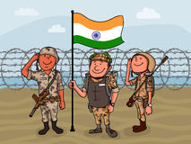 Saluting soldiers for Indian Independence Day. Royalty Free Stock Photos