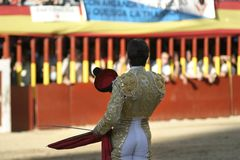 Saluting torero. Torero with montera in hand, saluting Stock Photography