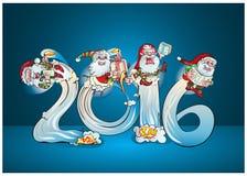 Saluto allegro di giro degli elfi con i regali royalty illustrazione gratis