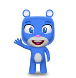 Saluto blu del carattere dell'orso Immagine Stock Libera da Diritti
