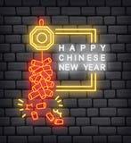 Saluto cinese del nuovo anno nell'illustrazione al neon di effetto illustrazione di stock
