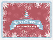 Saluto del buon anno e di Buon Natale nello stile d'annata Fotografia Stock