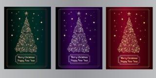 Saluto del nuovo anno & carta del buon anno, progettazione dell'albero del fondo con stile geometrico illustrazione di stock