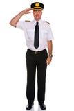 Saluto del pilota di linea aerea. Immagine Stock