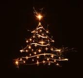 Saluto dell'albero di Buon Natale con le stelle Immagini Stock