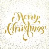 Saluto dell'iscrizione di scintillio dell'oro di Buon Natale Immagini Stock Libere da Diritti