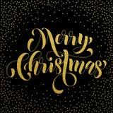 Saluto dell'iscrizione di scintillio dell'oro di Buon Natale Fotografia Stock
