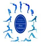 Saluto della luna di esercizio di yoga Fotografia Stock