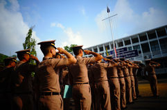 Saluto della marina la bandiera Fotografie Stock