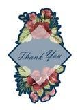 Saluto della pianta, progettazione del modello della carta dell'invito, fiori rosa illustrazione vettoriale