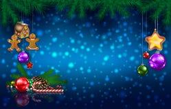 Saluto di celebrazione con l'albero di Natale ed i fiocchi di neve fotografie stock