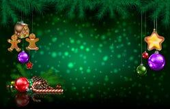 Saluto di celebrazione con l'albero di Natale ed i fiocchi di neve fotografia stock